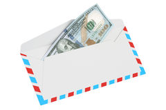White envelope with 100 dollars, 3D rendering. On white background Stock Image