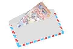 White envelope with 50 euro, 3D rendering. On white background royalty free illustration