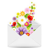 White Envelope With Flowers Stock Photography