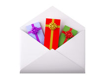 White envelope with gift boxes Stock Photos