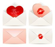 White envelope and Hearts, concept Love Royalty Free Stock Image