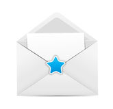 White Envelope Icon with Star Vector Illustration Royalty Free Stock Images