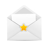 White Envelope Icon with Star Vector Illustration Royalty Free Stock Photos