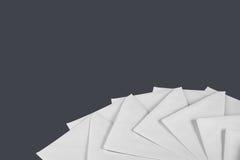 White envelope letters on black background Stock Images