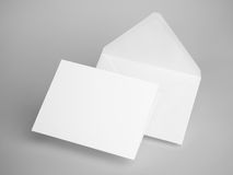 White envelope letters. 3d rendering. White blank envelope letters on gray background Stock Images