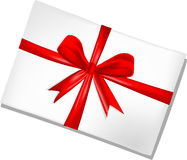 White envelope with red ribbon Royalty Free Stock Photo