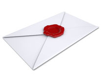White envelope with a red seal. Isolated render on a white background Royalty Free Stock Photography