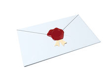 White envelope sealed with red wax. Seal isolated on white Royalty Free Stock Image