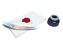White envelope sealed with red wax. Ink-pot and feather white envelope sealed with red wax Stock Photos