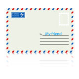 White  envelope with stamp. Royalty Free Stock Image