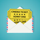 White envelope with two vintage cinema tickets. Royalty Free Stock Photos