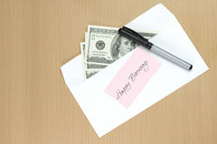 White envelope with us dollar banknotes Royalty Free Stock Photos