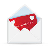 White Envelope with Valentine card. Royalty Free Stock Images