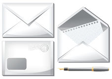 White envelopes and pan Stock Images
