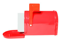 White envelopes in red Mailbox Stock Photo