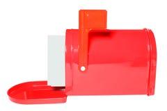 White envelopes in red Mailbox stock photo