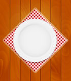 White Eppty Plate on Kitchen Napkin at Wooden Boards Background Stock Photos