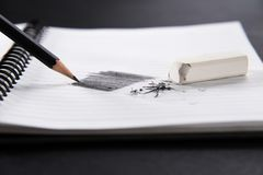 White eraser and black pencil Stock Photography