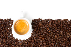 White Espresso Cup Sat On Coffee Beans Royalty Free Stock Photo