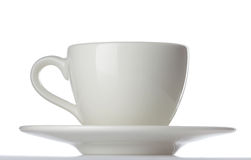 White espresso tea coffee cup with saucer isolated Royalty Free Stock Image