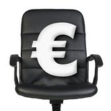 White euro sign stands in chair. Isolated on white Royalty Free Stock Photos