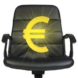 White euro sign stands in chair. Isolated on white Royalty Free Stock Image