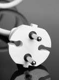 White europe standard power plug over black Stock Image