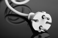 White europe standard power plug over black Stock Photography