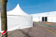 White event tent. Large white event tent for the annual carnival festivities in Oldenzaal, Netherlands Royalty Free Stock Photo