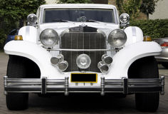 White excalibur limousine, front side Stock Photos