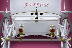 White exclusive wedding carriage for lovers Royalty Free Stock Photography