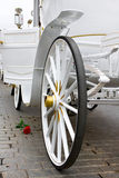 White exclusive wedding carriage with rose Royalty Free Stock Photography