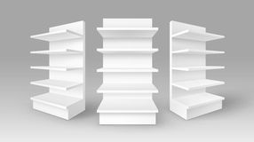 White Exhibition Stands Shop Racks with Shelves Royalty Free Stock Photography