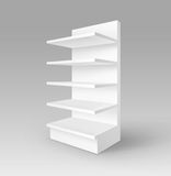 White Exhibition Trade Stand Rack with Shelves Stock Photos