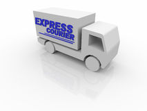White Express Courier Van Stock Photos