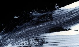 White expressive brush strokes for creative, innovative, interesting backgrounds in zen style. Abstract white dynamic expressive brushstrokes on black background stock photos
