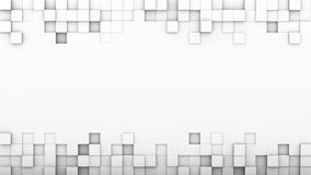 White extruded boxes and free space 3D render. White extruded boxes and free space. Abstract geometric background. 3D render illustration Stock Photos