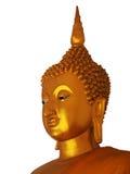 white för bakgrundsbuddha guld- staty Royaltyfria Bilder