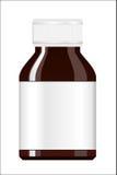 white för bana för medicin för lock för etikett för blank för flaska 100ml clipping för brown barnsäker glass bland annat isolera Arkivfoto