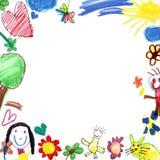 white för barnteckningsram Royaltyfria Bilder