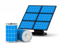 white för batteri för bakgrund 3d isolerad sol- bild Isolerad 3D Royaltyfria Bilder