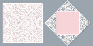 white för bröllop för vektor för inbjudan för bakgrundskortteckningar För laser-klipp stock illustrationer
