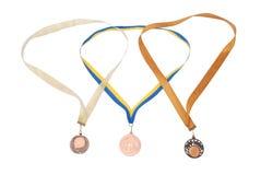 white för bronsmedaljer tre Royaltyfri Foto