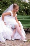 white för brudklänningbröllop Fotografering för Bildbyråer