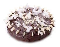 white för choklad för bakgrundsbakningcake isolerad muffin Arkivfoto