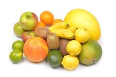 white för citron för kiwi för bakgrundsfruktgrapefrukt orange Arkivbild
