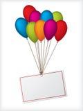 white för etikett för ballonsfödelsedag redigerbar Royaltyfri Fotografi