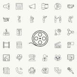 white för film för filmstrip för begrepp 3d symbol isolerad Detaljerad uppsättning av massmediasymboler Högvärdigt kvalitets- tec Arkivbild