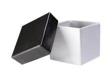 white för gåva för svart ask öppen Royaltyfria Bilder