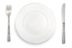 white för gaffelknivplatta Royaltyfri Fotografi